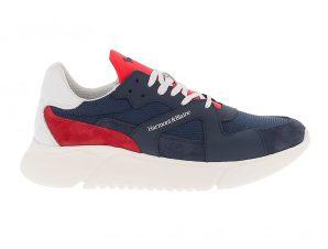 Harmont & Blaine ανδρικά sneakers με contrust suede λεπτομέρεια – EFM201180-6110 – Μπλε Σκούρο