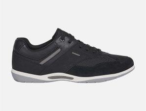"""Geox ανδρικά sneakers με suede λεπτομέρειες και μεταλλικό logo """"Volere"""" – U04ADA – Μαύρο"""