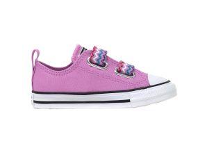 "Converse παιδικά sneakers με κορδόνια και velcro ""Chuck Taylor All Star 2V VLTG"" – 767194C – Ροζ"
