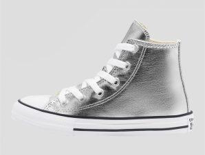 "Converse παιδικά sneakers μποτάκια ""Chuck Taylor All Star Matallic"" – 670179C – Ασημί"