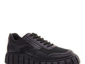Sneakers με τρακτερωτή σόλα, μαύρο