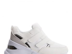 Sneakers με πλατφόρμα και scratch, λευκά